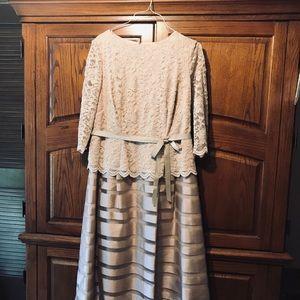2 piece beige dress.